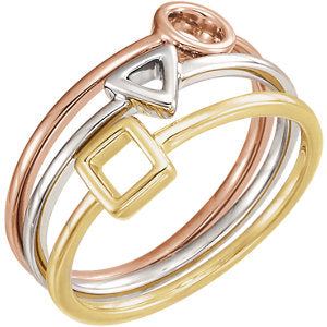 14K White & Yellow & Rose Geometric Stackable Rings
