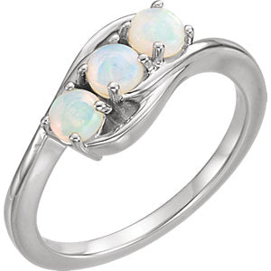 14K White Opal Three-Stone Ring