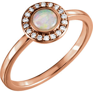 14K Rose Opal & .08 CTW Diamond Ring