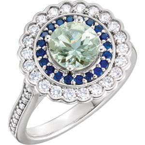 Platinum Green Quartz, Blue Sapphire & 1/2 CTW Diamond Engagement Ring
