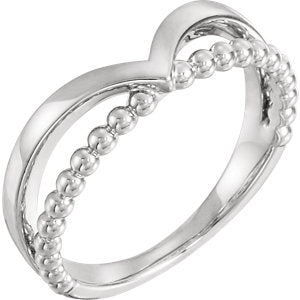 "14K White Negative Space Beaded ""V"" Ring"