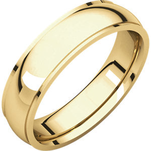 14K Yellow 5mm Comfort Fit Edge Band
