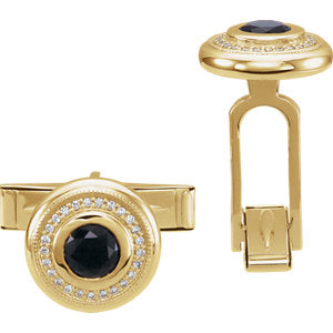 14K Yellow Men's Onyx & Diamond Cuff Links