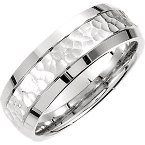 14K White 7.5mm Fancy Carved Band Size 12