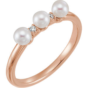 14K Rose Freshwater Cultured Pearl & .03 CTW Diamond Stackable Ring