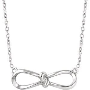"14K White Bow 18"" Necklace"