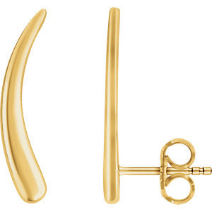 14K Yellow Curved Ear Climbers