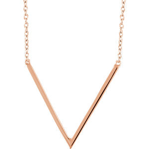 "14K Rose ""V"" 16-18"" Necklace"