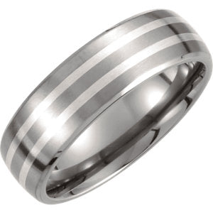Titanium & Sterling Silver Inlay 7mm Satin Finish Band Size 10