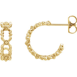 14K Yellow Quatrefoil Hoop Earrings