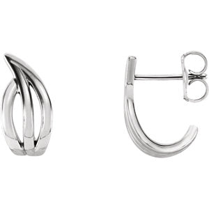 14K White Freeform J-Hoop Earrings