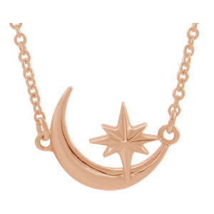 14K Rose Crescent Moon & Star Necklace