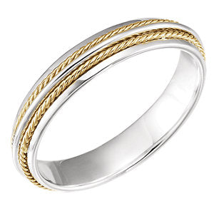 14K Yellow & White 4.5mm Fancy Band Size 11