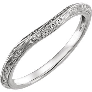 14K White Design-Engraved Band for 6.2mm Engagement Ring