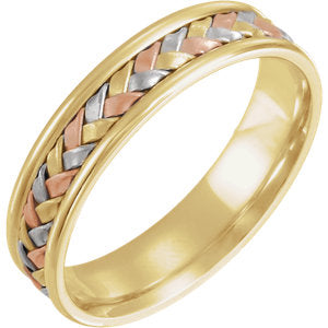 14K White & Yellow & Rose 4mm Woven Band Size 5