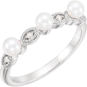 14K White Freshwater Cultured Pearl & .03 CTW Diamond Stackable Ring