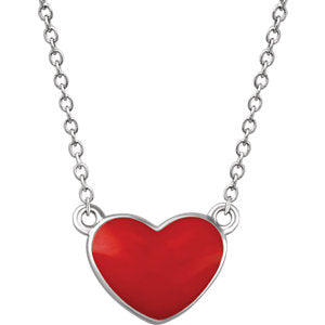 "Sterling Silver Red Enamel Heart 18"" Necklace"
