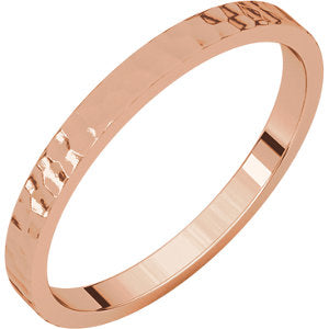 14K Rose 2mm Flat Band with Hammer Finish Size 7