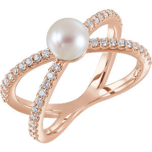 14K Rose Freshwater Cultured Pearl & 1/3 CTW Diamond Ring