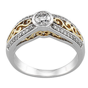 14K White & Yellow 1/2 CTW Diamond Bezel Set Engagement Ring