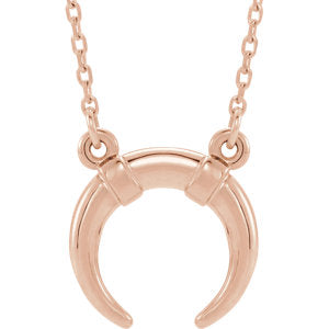 14K Rose Crescent Necklace