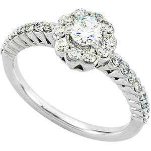 14K White 3/4 CTW Diamond Engagement Ring