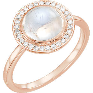 14K Rose Rainbow Moonstone & 1/8 CTW Diamond Ring