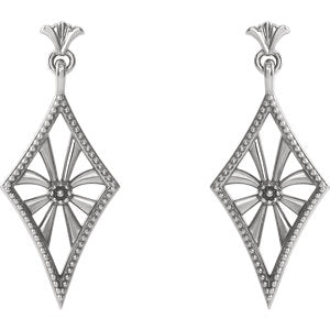 Sterling Silver Vintage-Inspired Dangle Earrings
