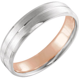 14K White & Rose 5mm Comfort-Fit Band with Matte Finish Size 8