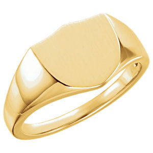 14K Yellow 11mm Shield Ring