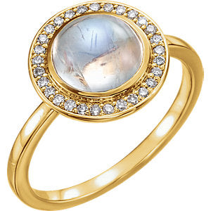 14K Yellow Rainbow Moonstone & 1/8 CTW Diamond Ring