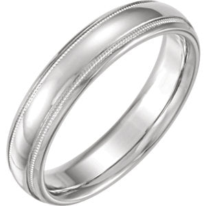 14K White 5mm Half Round Comfort Fit Milgrain Band Size 4