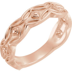14K Rose Scalloped Geometric Ring