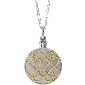 "Sterling Silver 14K Yellow Gold-Plated Celtic-Inspired Ash Holder 18"" Necklace"
