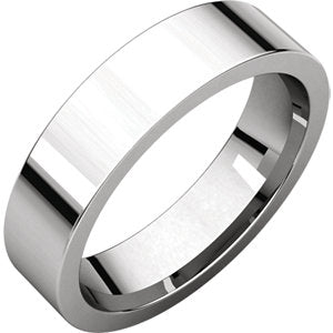 10K White 5mm Flat Comfort-Fit Band
