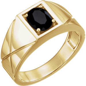 14K Yellow Onyx Men's Ring