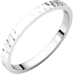 Platinum 2mm Flat Band with Hammer Finish Size 10