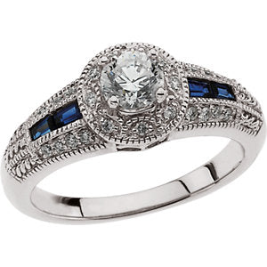14K White Blue Sapphire & 3/4 CTW Diamond Engagement Ring