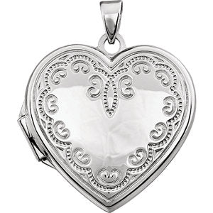 14K White Heart Locket with Scroll Design
