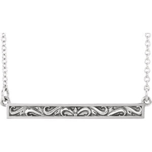 "Platinum Sculptural-Inspired Bar 16-18"" Necklace"