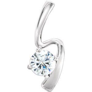 14K White 6mm Round Forever One Moissanite Pendant