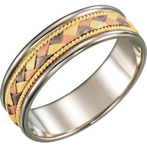 14K White & Yellow & Rose 6mm Comfort-Fit Woven Band Size 9