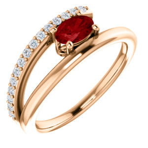 14K Rose Chatham® Created Ruby & 1/8 CTW Diamond Ring