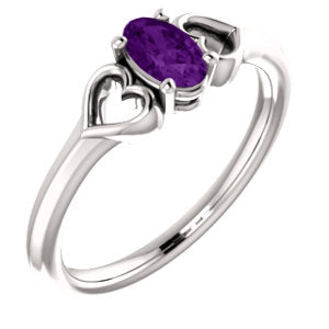14K White Amethyst Youth Heart Ring