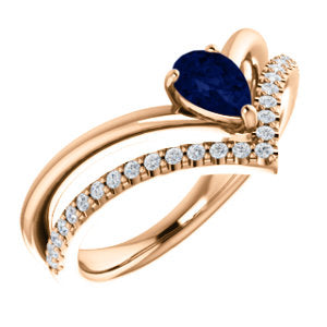 14K Rose Blue Sapphire & 1/6 CTW Diamond Ring