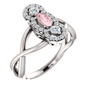 14K White Morganite & 1/4 CTW Diamond Ring