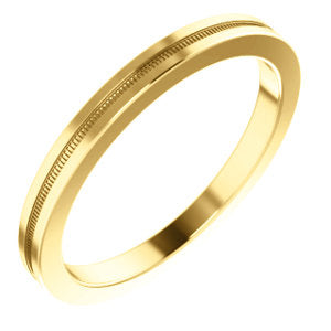 14K Yellow 2mm Flat Comfort Fit Milgrain Band Size 4.5
