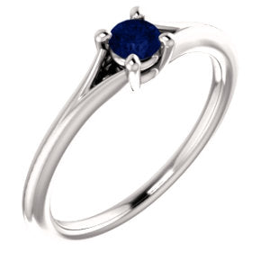 14K White Blue Sapphire Youth Ring
