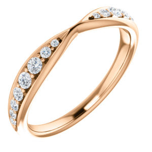 14K Rose 1/5 CTW Diamond Pinched Contour Band