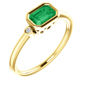 14K Yellow Chatham® Created Emerald & .02 CTW Diamond Ring